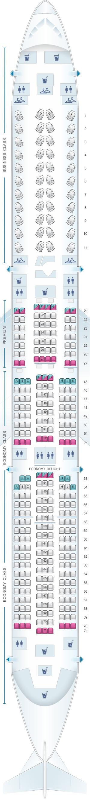 Seat map for Virgin Atlantic Airbus A350 1000